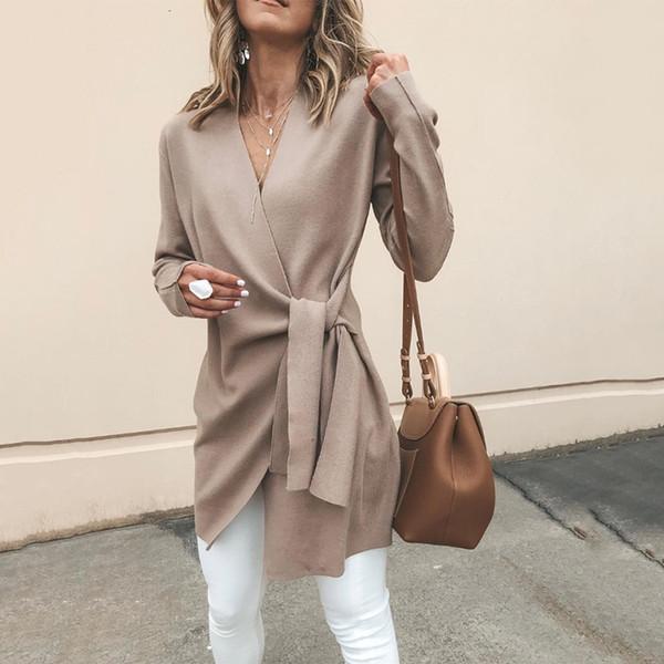 Spring Women Long Sleeve Faux Suede Cardigan 2018 Autumn Fashion V Neck Belt Solid Slim Tops Female Casual Elegant Coats Outwear