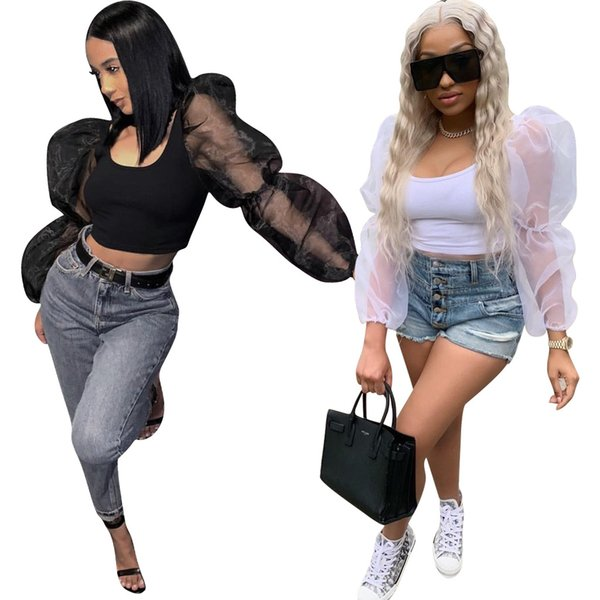 Women Crop Top Lantern Sleeve Sheer Mesh Patchwork Long Sleeves T Shirts Sexy Summer Clothes Street Top White Black