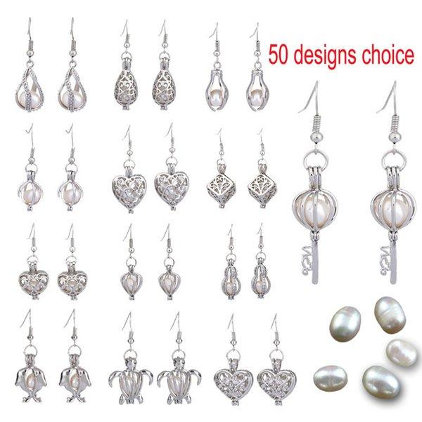 50 Designs Für Sie wählen Süßwasserperlenkäfig Perlen Käfig Medaillon Ohrring 925 Silber Aroma Ätherisches Öl Diffusor Medaillon Ohrringe Schmuck