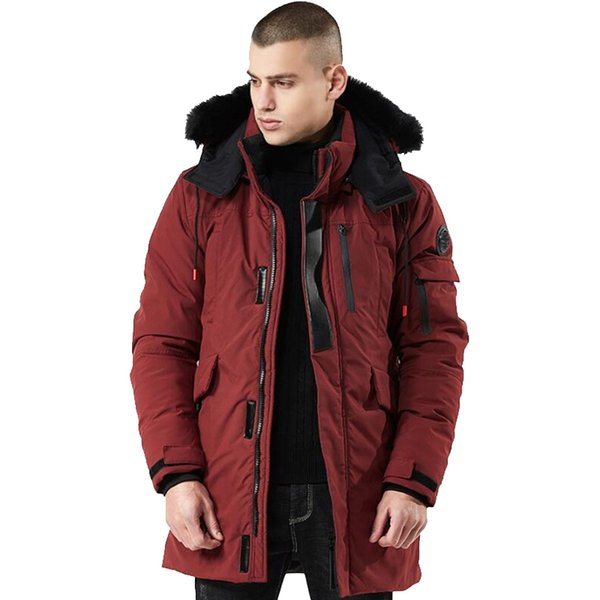 Winter Coat Men Windbreaker Fur Hooded Thicken Jacket Men's Streetwear Hiphop Military Trench Coats Long Parka Jaqueta Masculina SH190822
