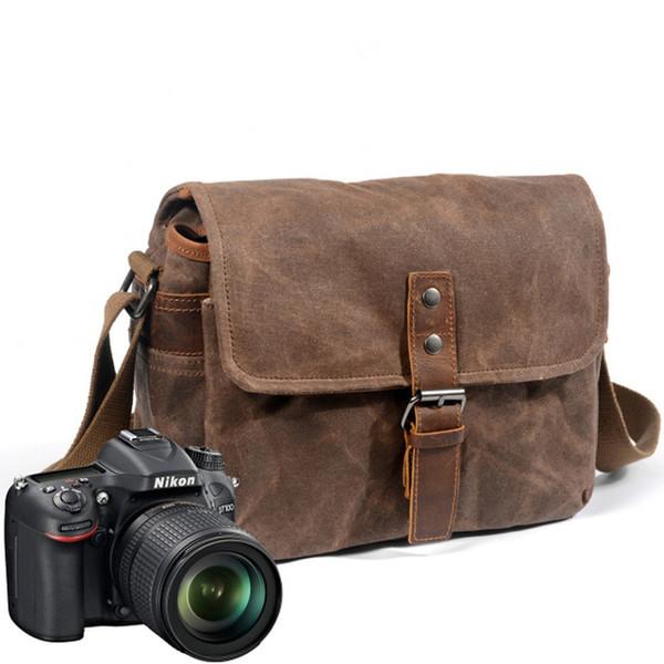 Mens Vintage Camera Travel Bag Waterproof Leather Canvas DSLR SLR Shockproof Shoulder Messenger Bag for Canon Sony Nikon