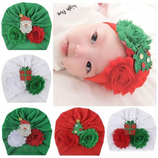 14 colorsChristmas çocuklar tasarımcı şapkalar bebek toddle çiçek pamuk Headbands şapka bandanas kız bebek saç aksesuarları çocuklar sarık kapağı kapakları