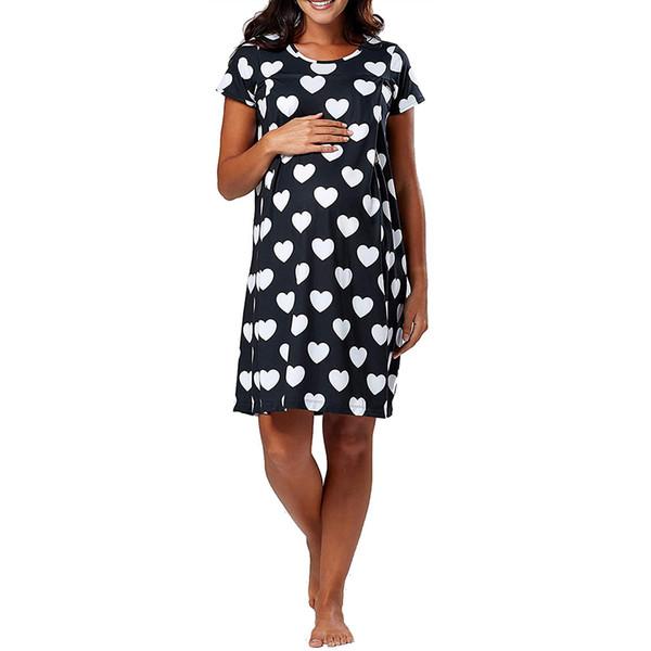 Женское платье для беременных с коротким рукавом в форме сердца Wave Point для кормящих грудью Беременные платья для беременных Одежда Sukienki