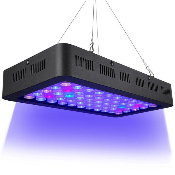 EE.UU. de la luz del acuario de 165W LED Full Spectrum regulables para el tanque de pescados del filón coralino El crecimiento en agua dulce y salada con Azul Blanco