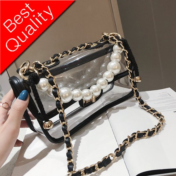 Pearl Tote bag 2019 Summer New Quality Transparent Jelly Femme Sac À Main Pour Femmes À Bandoulière Sac Messenger