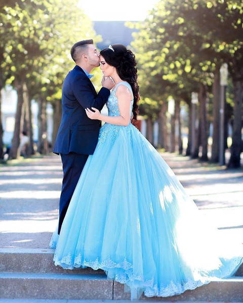 Princess Blue Ball Gown Prom Dresses 2019 Crystals Vintage Lace Puffy Tulle Cheap African Girls Quinceanera Engagement Evening Party Gowns