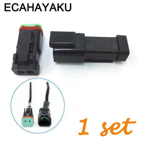 ECAHAYAKU Black 1 sets Kit 2 Pin Waterproof Electrical Wire Connector Plug Deutsch connectors 22-16AWG DT06-2S DT04-2P off road