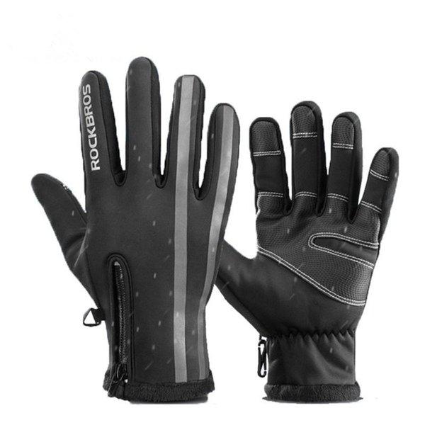 ROCKBROS Touchscreen Motorradhandschuhe Wasserabweisend Winter Thermisch Winddicht Warmer Vollfingerhandschuh Rutschfeste Fahrradhandschuhe