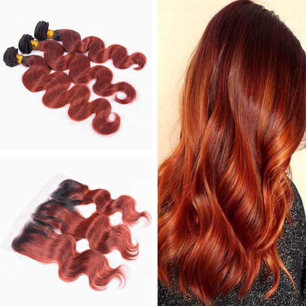 Dark Roots 1B Orange Körperwelle Haarspinnereien mit Ohr an Ohr Frontal 13x4 Two Tone Orange Braunes Haar 3 Bundles mit Frontal