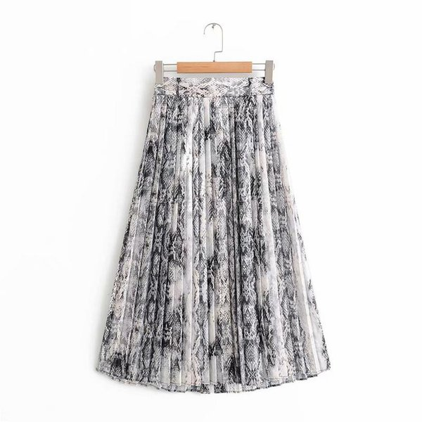 48404276681f Faldas Mujer Women Stylish Sexy Snake Skin Print Pleated Midi Skirt Female  Streetwear
