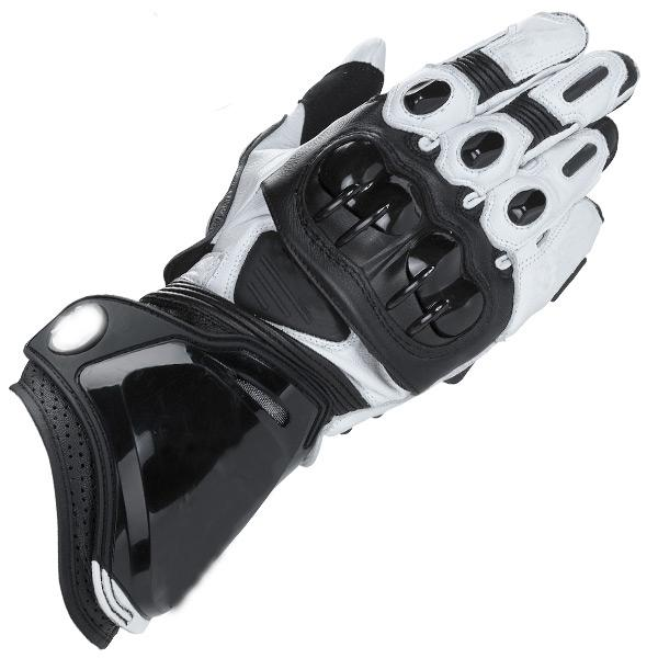 White Black Motorcycle Leather Moto PRO Long Gloves Racing Motorbike Gloves