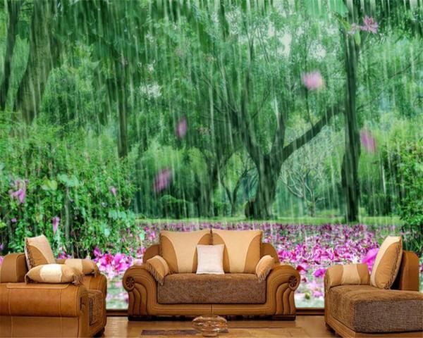 Custom Wallpaper Murals Nature Landscape Fresh Green Shade Pink Petals Tv Background Walls 3d Wallpaper Ha Wallpaper For Pc Halloween Wallpaper From