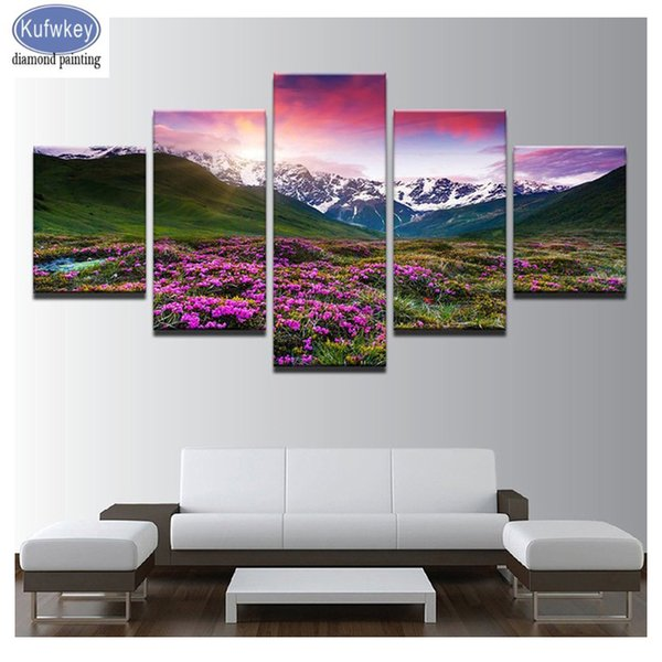 Full square Round Drill Diamond Painting Himalayas Mountain View Multi-picture Combination 5D DIY Embroidery Mosaic Decor 5 pcs