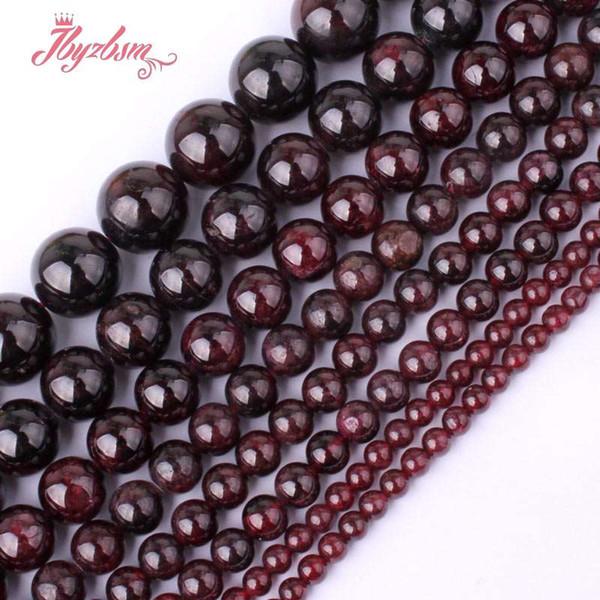4 6 8 10mm Lisse Balle Ronde Perles Grenat Rouge Perles En Pierre Naturelle Pour DIY Collier Bracelet Fabrication De Bijoux 15