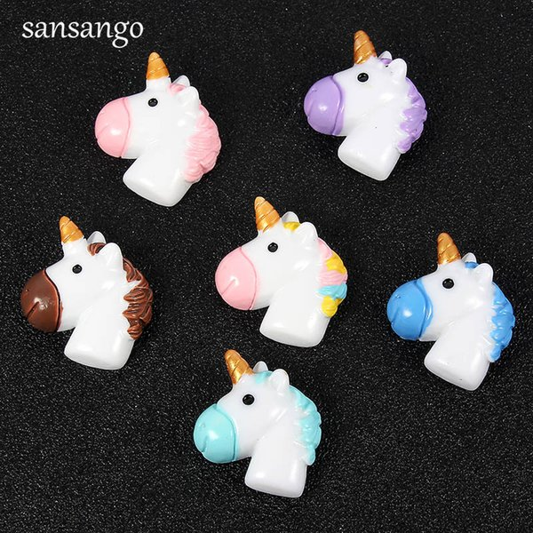 10pcs Multicolor Resin Cute Unicorn Horse Cameos Cabochons Fit Women Kids Handmade DIY Jewelry Making Accessories Wholesale