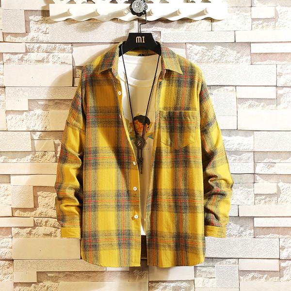 # 0157 Chemise à manches longues hommes Slim Fit Harajuku Streetwear Casual Chemise à carreaux pour l'homme jaune coréenne mode rétro coton printemps