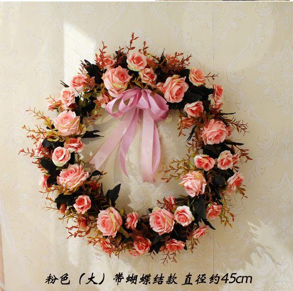 Simulación Puerta Adornos Florales Adornos de Navidad Guirnalda de la boda Decorativo Garland Colgante Flor Decoración