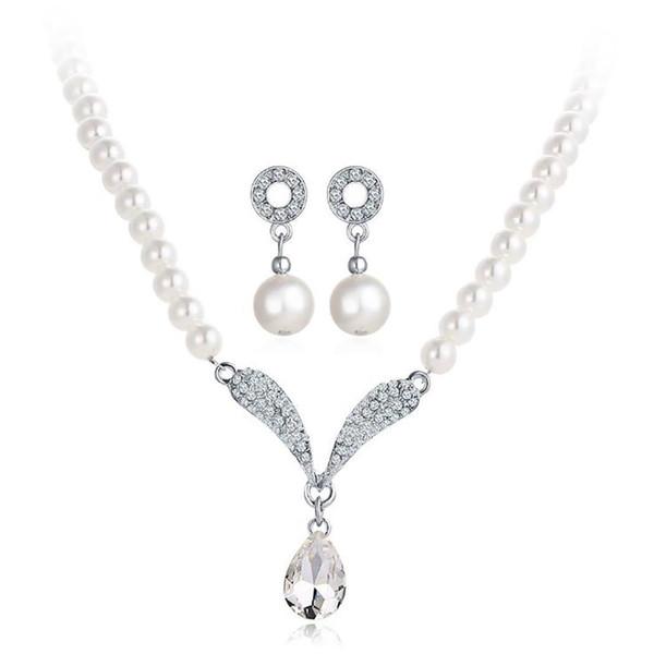 Gioielli di moda donna Set Faux Pearls Ciondolo Party, Matrimonio, Compleanno, Anniversario Collana Orecchini Set