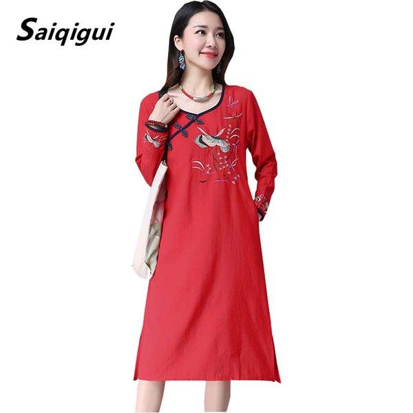 Venta al por mayor 2019 primavera verano vestido casual suelto una línea de manga larga vestido de mujer bordado vintage vestidos de lino de algodón