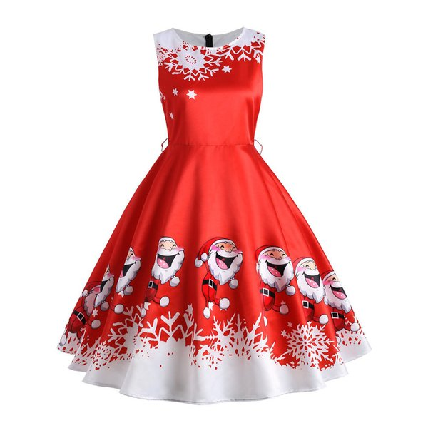 Women's Dress Women Christmas Print Elegant Floral Slim Vintage Tea Hepburn Dress Ball Gown Dress Women Vestidos Verano designer clothes