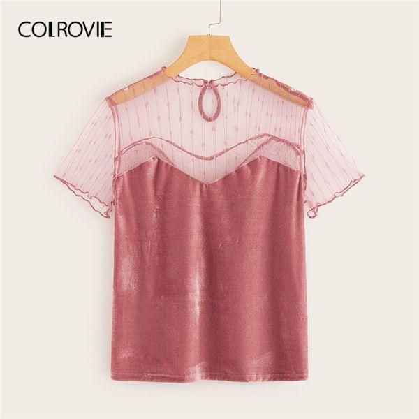 COLROVIE Pink Solid Stand Collar Mesh Yoke Velvet Elegant T Shirt Women 2019 Summer Workwear Office Shirts Ladies Tops