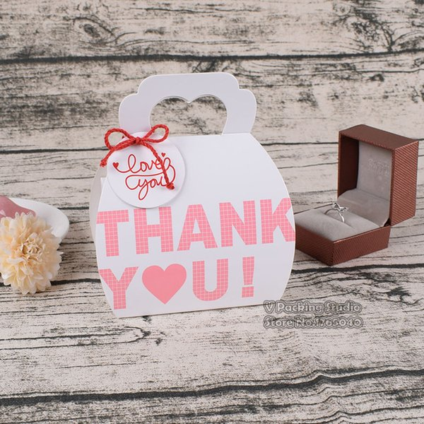 6*9.5*14cm Thank you paper cake cupcake cookies box,box with handle portable whtie Paper cake Packing Boxes100pcs/lot