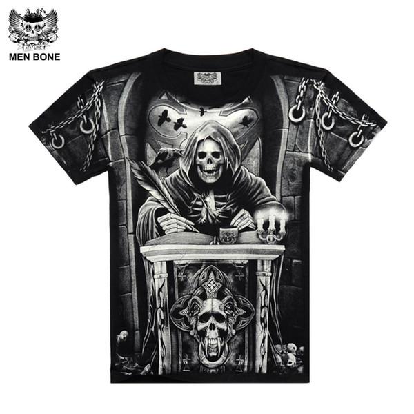 [Erkekler kemik] Ağır Metal Stil grim Reaper kafatası Tshirt siyah Siyah Baskı gömlek Hip Hop sokak kaya ağır metal kol