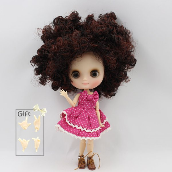 Nude Factory Middle Blyth doll Series No.BL910310362 Brown mix Black curly hair Matte face suitable for change toy Neo BJD