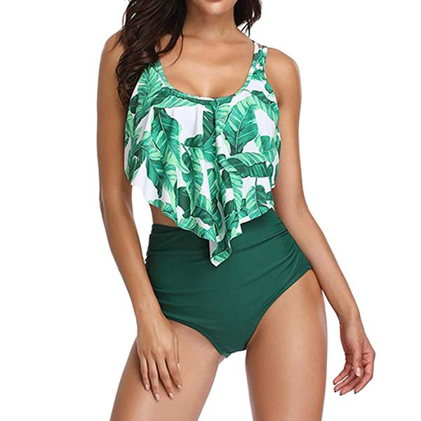 Costume da bagno donna stampato 2 pezzi Plus Size Sexy Backless Halter Beach stampato Estate foglia verde arruffato elegante e confortevole beac