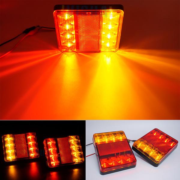 2 Pcs Étanche 8 Voiture LED Feu Arrière Lumière Lampes Arrière Paire Remorque De Bateau 12 V Arrière Pièces Pour Remorque Camion Éclairage De Voiture