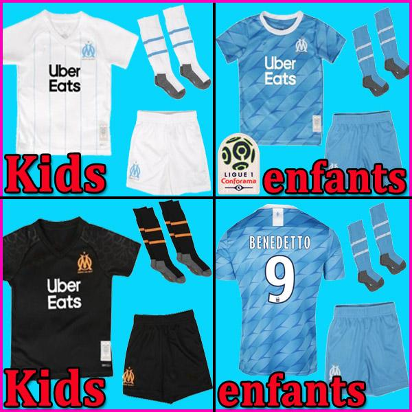 top popular 19 20 Olympique De Marseille soccer jersey OM kids kit 2019 2020 maillot de foot PAYET THAUVIN BENEDETTO football shirt boy sets 2020
