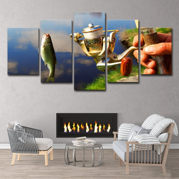 HD Printed 5 Piece Canvas Art Fishing Fish Painting Pond Painting Fishing Rod Poster Decorative Pictures Free Shipping