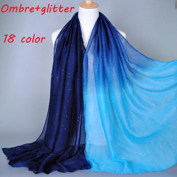 2015 Ombre блеск printe оттенка цвета хлопка вискоза мерцание длинные шали головы пашмины весна хлопок хиджаб мусульманские шарфы / шарф