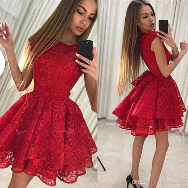 Sexy Jewel Neck Little Red Sexy Homecoming Dresses New A-Line Full Lace Short Cocktail Formal Party Dress Vintage Short Prom Dress