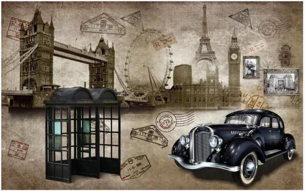 3d duvar kağıdı özel fotoğraf duvar Retro klasik İngiliz tarzı klasik otomobil telefon kulübesi dekor oturma odası 3d duvar resimleri duvarlara 3 d için duvar kağıdı