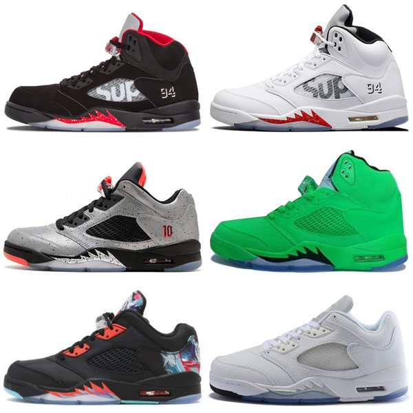 Cheap 5 5s Wings International Flight Mens Basketball Shoes Red Blue Suede Oregon PE Metallic Silver men sports sneakers designer trainers