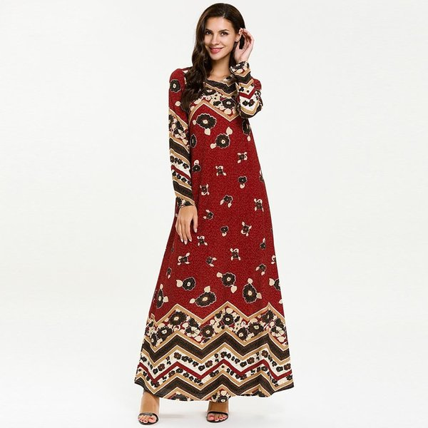 7723 Women Muslim Abaya Turkey Dubai Ramadan Dress Long Sleeve Maxi Dresses Kaftan Turkish Islamic Clothing Plus Size Bangladesh Robe