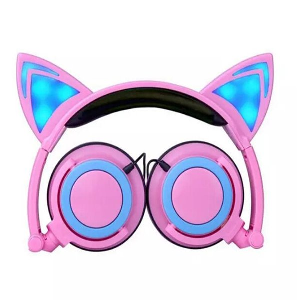Foldable Flashing Glowing cat ear headphones Gaming Headset with LED light Earphone For PC Laptop Computer Mobile Phone