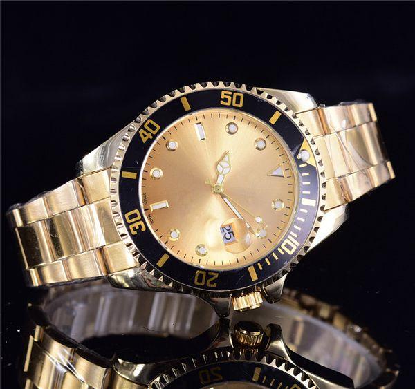 New Fashion brand men watches Luxury Calendar Quartz Gold Dial Calendar Gold Bracelet Folding Clasp Diamond Watch Male michael good