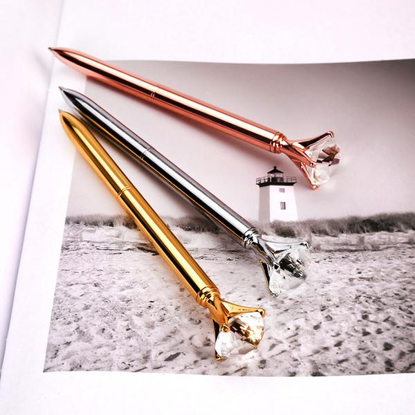 Big Karat Diamant Crystal Pen Gem Kugelschreiber Ring Hochzeitsbüro Metallring Gelschreiber Rotgold Silber Rosa Lila