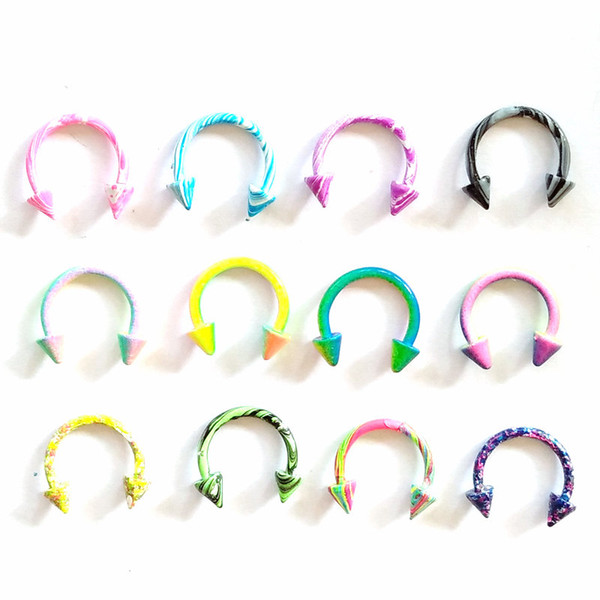 New Color 16G Stainless Steel Horseshoe Piercing With Cone Circular Barbells Lip Nose Rings Body Piercing Jewelry Mix 100pcs