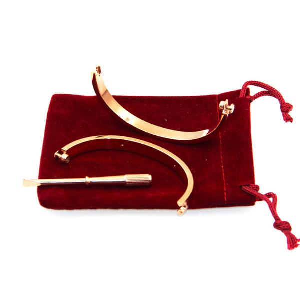 UHotstore 2019 hot Love screw Bangles 16/18/20cm uxury brand with ten cz stone screwdriver bracelets for women men with original bag