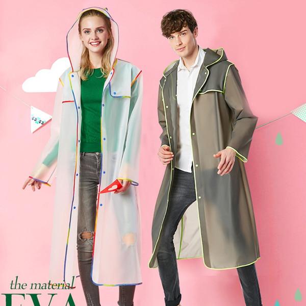 2018 Cheap to carry Fashion soft transparent Adult Plastic Thick Rainwear Unisex Woman men Waterproof Long Raincoats #179563