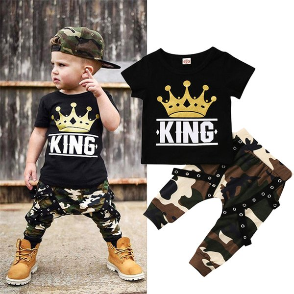 Summer Boys T-shirt+Trousers 2 Piece Sets Boys kids clothes kids designer clothes Short sleeve Printed T-shirt Camouflage trousers DHL JY124