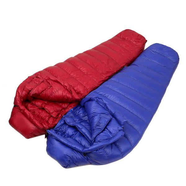 Saco de dormir Camping Múmia Tipo 400g Duck Down Filled Ultraleve Soft Manter Aquecido Adulto Sacos De Dormir Para Camping Caminhadas Escalada