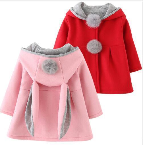 Children Bunny Jacket Winter Warm Girl Rabbit Autumn Cute Coats Toddler Kids Outwear Baby Hood Clothing jacket for girl fur coat