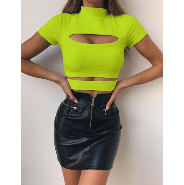 Femmes Sexy T-shirts En été 2019 Nouvelle Femme Casual Couleur Unie Mi-haute Col Court Tops Femmes Sexy Creux Out Tight T-shirts