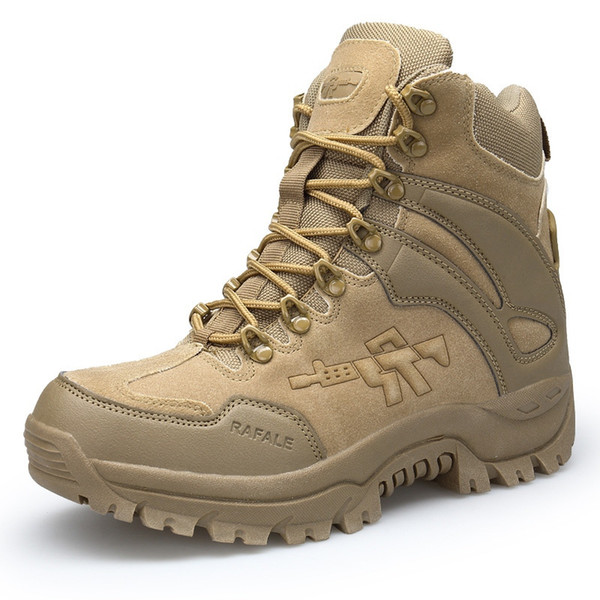 Eu 39-46 Tactical Army Fans Outdoor Climbing Camping Desert Breathable Shoes Men Male Non-slip Working Hiking Trekking Boots #44979