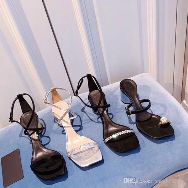 Mulheres Designer Bege Cinza Preto Dois Tons De Couro Camurça Slingback saltos Bombas Sandália Mocassins Mulheres sandálias dlm190708