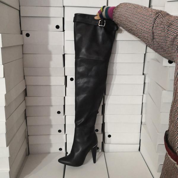 Kolnoo Hot Neue Ankunft Womens Spool Ferse Oberschenkelhohe Stiefel Spitz Winter Über Knie Stiefel Casual Tanzclub Mode Dressing Schuhe D148